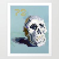 8bit Art Prints featuring 8Bit Skull by Delton Demarest