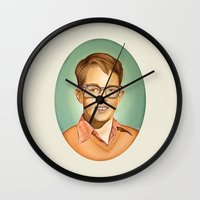 charlie Wall Clocks featuring Charlie by HeatherAckley