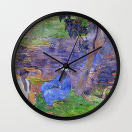 """Paul Gauguin """"On the shore of the lake at Martinique"""" Wall Clock"""
