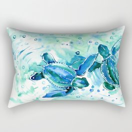 Turquoise Blue Sea Turtles in Ocean Rectangular Pillow
