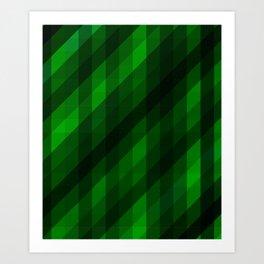 Weaving Green Diamonds Pattern Art Print
