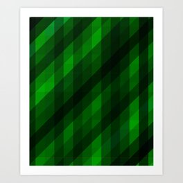 Weaving Green Diamonds Pattern Art Print