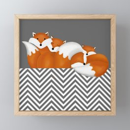 sleeping foxes 2 Framed Mini Art Print