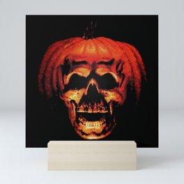 Halloween II Pumpkin Skull Stained Glass Mini Art Print