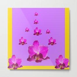 PURPLE ORCHID FLOWERS RAIN YELLOW ART Metal Print