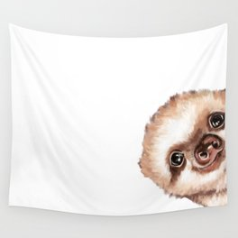 Sneaky Baby Sloth Wall Tapestry