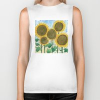 sunflowers Biker Tanks featuring Sunflowers by Holly Fisher@SpenceCreative