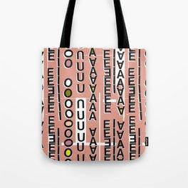 Vowels pink Tote Bag