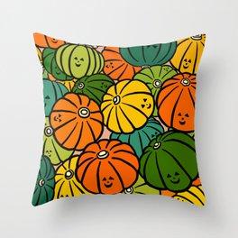 Halloween Pumpkins in Action Throw Pillow