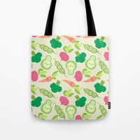 vegetable Tote Bags featuring VEGETABLE PARTY! by Claudia Ramos Designs
