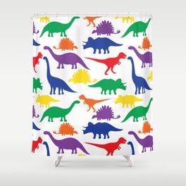 Dinosaurs - White Shower Curtain