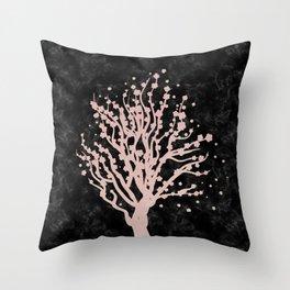 Cherry blossom tree rose gold Throw Pillow