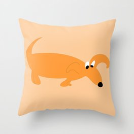 ORANGE SNIFFER DOG Throw Pillow