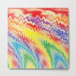 Raging Rainbow Fire Lines Metal Print