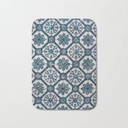 Floral ceramic tile design in blue color #Terrazzo #Blobs Bath Mat