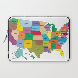 Map of the US states Laptop Sleeve