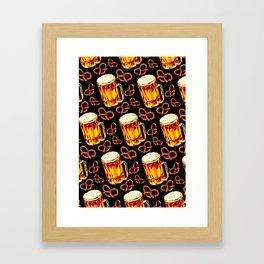 Beer & Pretzel Pattern - Black Framed Art Print