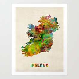 Ireland Eire Watercolor Map Art Print