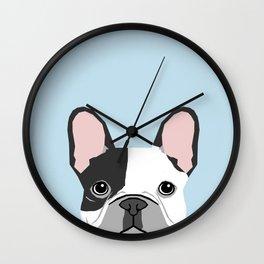 french bulldog art portrait - aqua light blue cute dog design Wall Clock