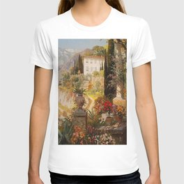 Amalfi Coast Campania, Italy Garden Terrace Vineyard and Flowers landscape seaside painting T-shirt