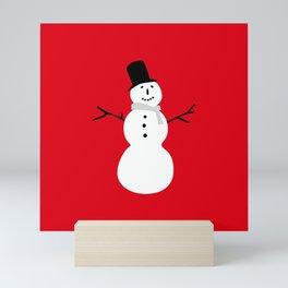 Christmas Snowman-Red Mini Art Print