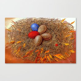 Golden with red. Nest Canvas Print