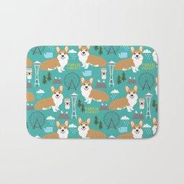 Corgi seattle washington welsh corgi pattern print dog lover gifts space needle ferris wheel coffee Bath Mat