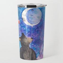 Surreal Bear Cub with Moon Balloon, Books and Imagination Travel Mug