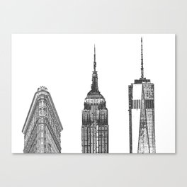 New York City Iconic Buildings-Empire State, Flatiron, One World Trade Canvas Print