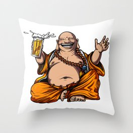 Buddha Beer Drinking Yoga Meditation Funny Party Throw Pillow