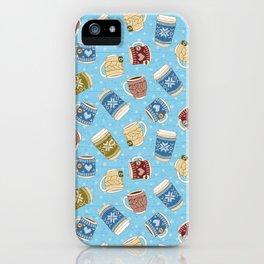 Cozy Mugs - Bg Blue Wood iPhone Case