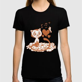 Valentine Cat and Bird Musical Hearts T-shirt