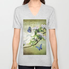Butterflies and Apple Blossoms Unisex V-Neck