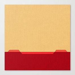 Dark coral red and Beige Line Canvas Print