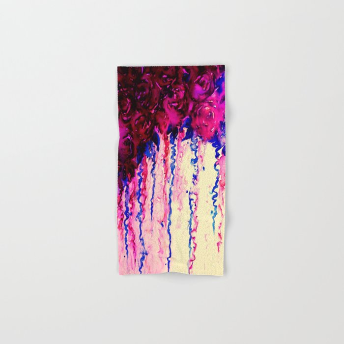 PETALS ON PARADE, Oxblood Marsala Red Royal Blue Floral Abstract Watercolor Roses Flowers Painting Hand & Bath Towel