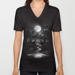 XVIII. The Moon Tarot Card Illustration Unisex V-Neck