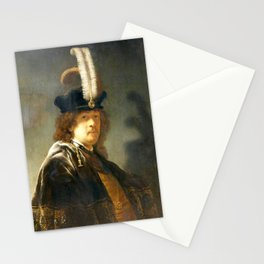 Rembrandt - Self-portrait wearing a white feathered bonnet Stationery Cards