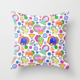 Cute Elephant Pattern - Bright Geometric Elephant Print Throw Pillow