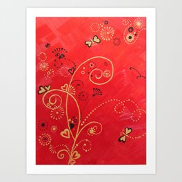 Gold on Red 1 of 3 Art Print