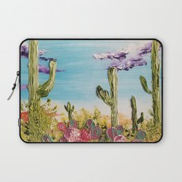 Colorful Desert Landscape, Cactus Landscape, High Desert, Beautiful Desert, Desert scape, Bright Laptop Sleeve