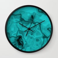 turquoise Wall Clocks featuring Turquoise by Lyle Hatch