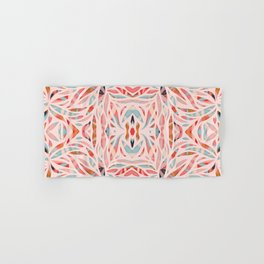 Boho Tile Abstraction / Coral and Blue Hand & Bath Towel