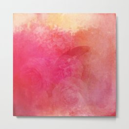 Pink Butterfly Vintage Roses Background Pattern Metal Print