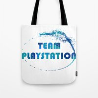 playstation Tote Bags featuring Team Playstation by Bradley Bailey