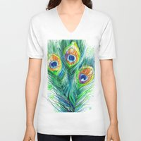 peacock feather V-neck T-shirts featuring Peacock feather  by Slaveika Aladjova