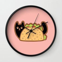 Taco Cat Black Wall Clock