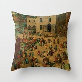 """Pieter Bruegel (also Brueghel or Breughel) the Elder """"Children's Games"""" Throw Pillow"""