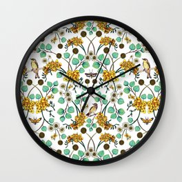 Warblers & Moths - Yellow & Teal Spring Floral/Bird Pattern Wall Clock