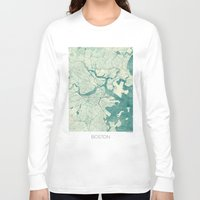 boston Long Sleeve T-shirts featuring Boston Map Blue Vintage by City Art Posters