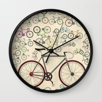 brompton Wall Clocks featuring Love Fixie Road Bike by Wyatt Design